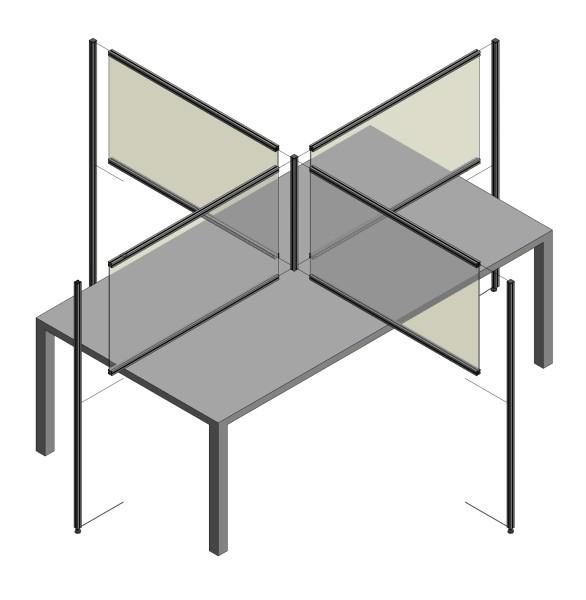 Spuckschutz-Kombination 4er Tisch