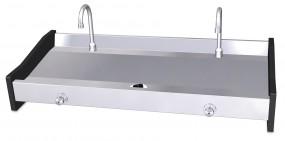 Doppelwaschbecken-Doppelwaschrinne aus Edelstahl HM24